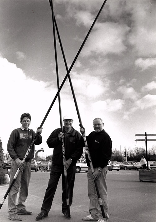 Bob Nudd with the founders of Arun Angling Cantre